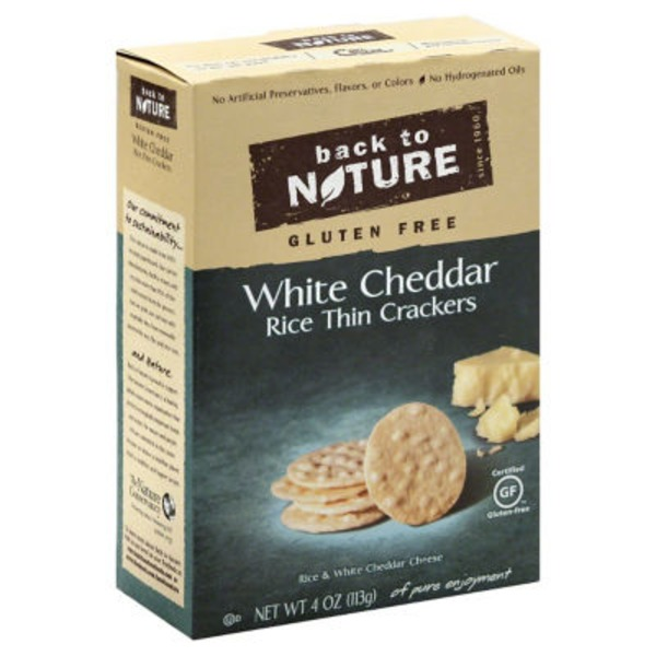 Back to Nature Rice Thin Crackers Gluten Free White Cheddar