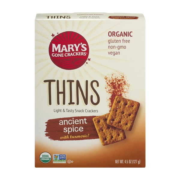 Mary's Gone Crackers Thins Light & Tasty Snack Crackers Ancient Spice