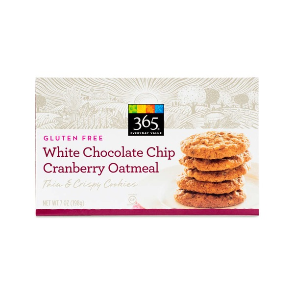 365 Gluten Free White Chocolate Chip Cranberry Oatmeal Thin & Crispy Cookies