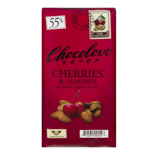 Chocolove Cherries & Almonds in Dark Chocolate, 55% Cocoa
