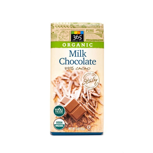 365 Organic 39% Cacao Milk Chocolate Bar