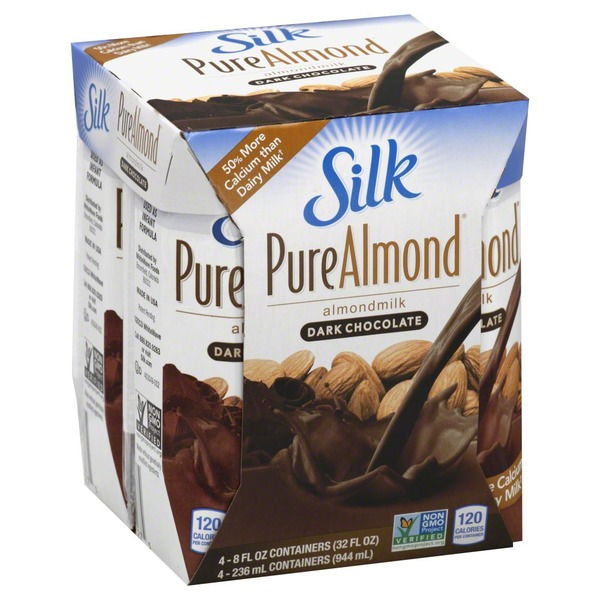 Silk Pure Almond, Almond Milk, Dark Chocolate, 4 Pack, Brick, Multipack