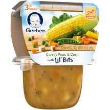 Gerber 3rd Foods Lil' Bits Carrot Peas & Corn Baby Food, 5 oz Tubs, 2 Count