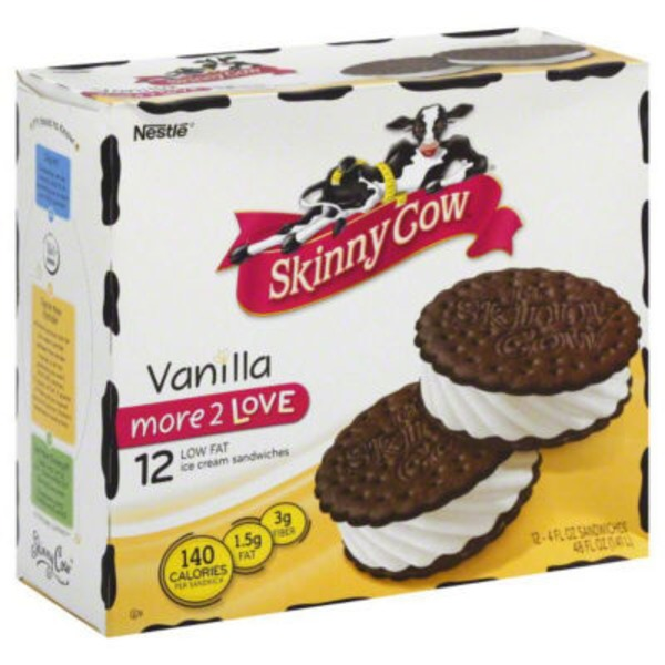 Skinny Cow Nestle Skinny Cow Vanilla & Mint Low Fat Ice Cream Sandwiches - 12 CT