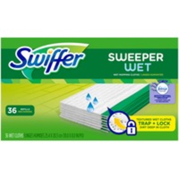 Swiffer Sweeper Wet Mopping Pad Refills for Floor Mop with Febreze Lavender Vanilla & Comfort Scent 36 Count Surface Care