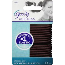 Goody Ouchless No Metal Hair Elastics, Chocolate Cake 10907, 15 count