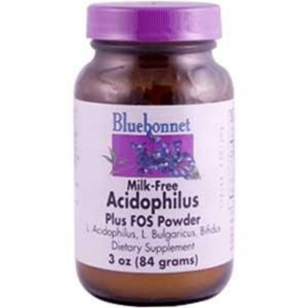 Bluebonnet Milk-Free Probitioc Acidophilus Plus FOS Powder Dietary Supplement
