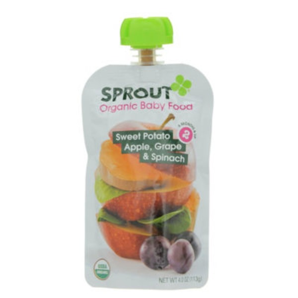 Sprouts Organic Baby Food Sweet Potato Apple, Grape & Spinach 2