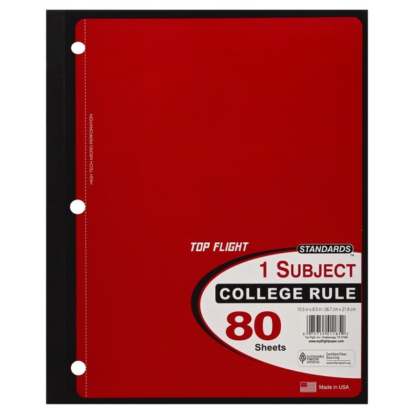 Top Flight Notebook, 1 Subject, College Rule, 80 Sheets