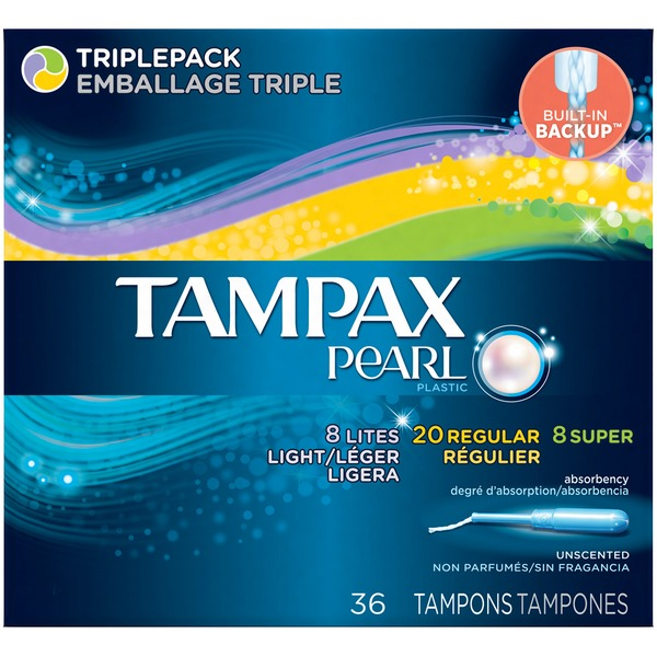 Tampax Pearl Tampax Pearl Plastic Triplepack, Unscented Tampons 36 Count  Feminine Care