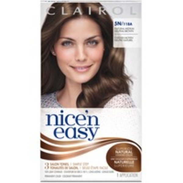 Clairol Nice 'n Easy, 5N/118A Natural Medium Neutral Brown, Permanent Hair Color, 1 Kit Female Hair Color