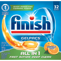 Finish All in 1 Gelpacs Orange, 32ct, Dishwasher Detergent Tablets