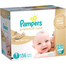 Pampers Premium Care Diapers, Size 1, 136 Diapers