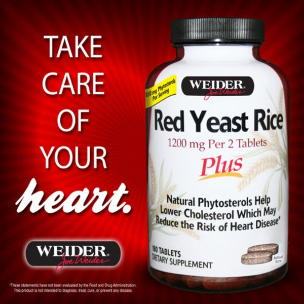 Weider 600 mg Red Yeast Rice Plus Supplement