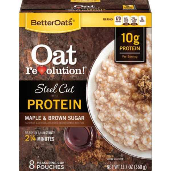 Better Oats Steel Cut Maple & Brown Sugar with 10g Protein with Flax Seeds Instant Oatmeal