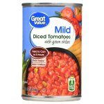Great Value Diced Tomatoes with Green Chilies, Mild, 10 oz