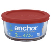 Anchor Glass Storage, Round, Red Lid, 2 Cup
