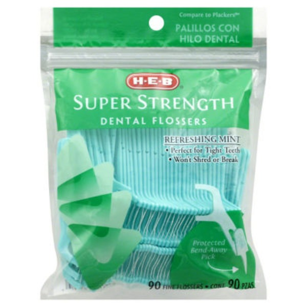 H-E-B Super Strength Dental Flossers Refreshing Mint