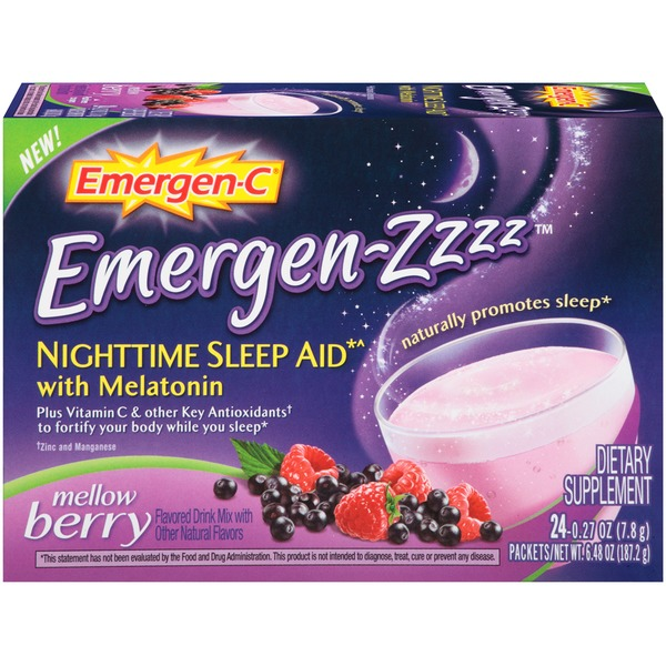 Emergen-C Emergen-Zzzz Nighttime Sleep Aid with Melatonin Mellow Berry Drink Mix Dietary Supplement