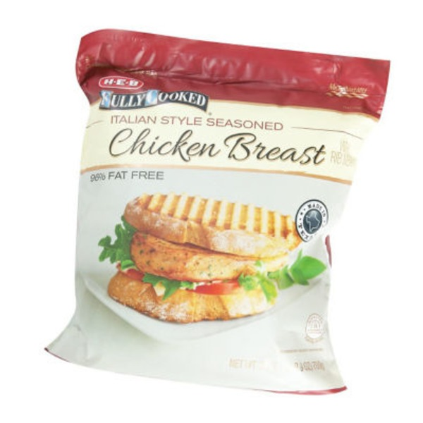 H-E-B Fully Cooked Italian Style Seasoned Chicken Breast