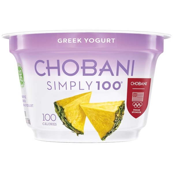 Chobani Simply 100 Pineapple Blended Non-Fat Greek Yogurt