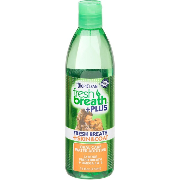 Tropiclean Fresh Breath Plus Skin & Coat Oral Care Water Additive For Pets 16 Fl. Oz.