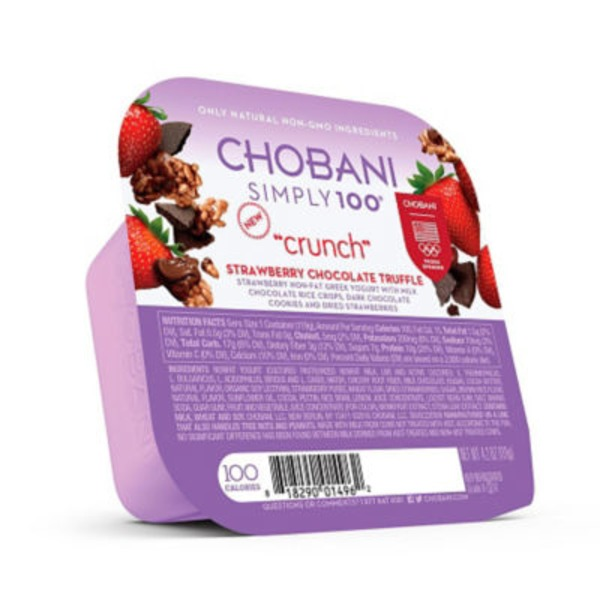 Chobani Simply 100 Crunch Strawberry Chocolate Truffle Non-Fat Greek Yogurt