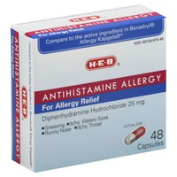 H-E-B Antihistamine Allergy Relief Capsules Diphenhydramine Hydrochloride 25 Mg