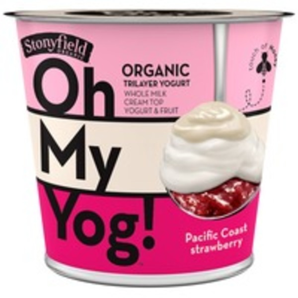Stonyfield Organic Oh My Yog! Trilayer Whole Milk Pacific Coast Strawberry Organic Yogurt