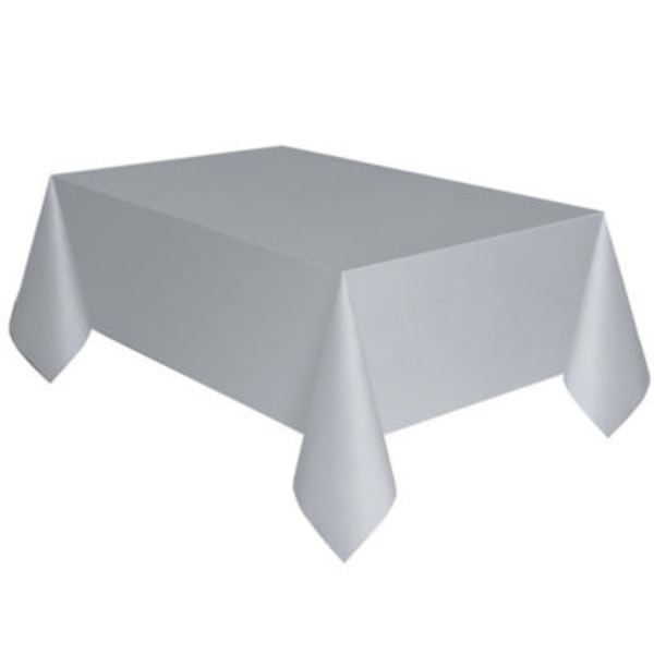 Unique Silver Plastic Table Cover