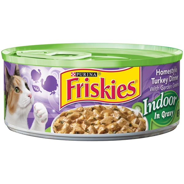 Friskies Indoor Homestyle Turkey Dinner with Garden Greens in Gravy Cat Food