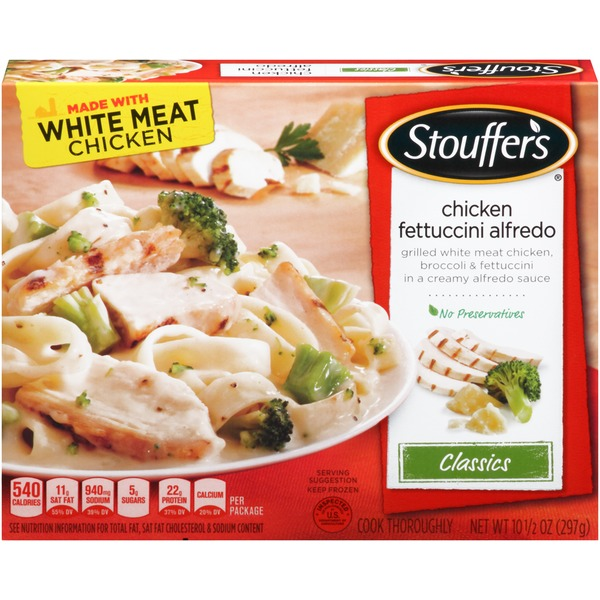 Stouffer's Classics Grilled white meat chicken, broccoli & fettuccini in a creamy alfredo sauce Chicken Fettuccini Alfredo