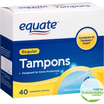 Equate Tampons, Regular, Unscented, 40 Ct