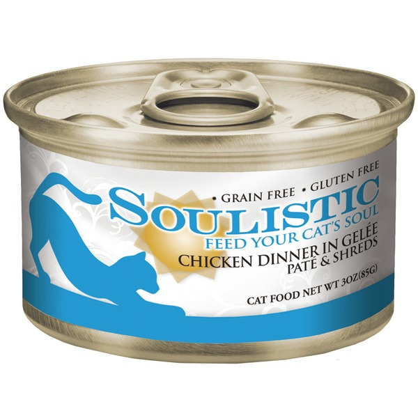 Soulistic Pate & Shreds Chicken Dinner Adult Canned Cat Food In Gelee 3 Oz.
