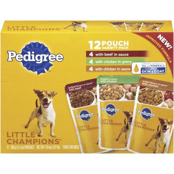Pedigree Little Champions with Beef In Sauce & with Chicken In Sauce & Gravy 5.3 Oz Pouches (PS #5114328) Wet Dog Food