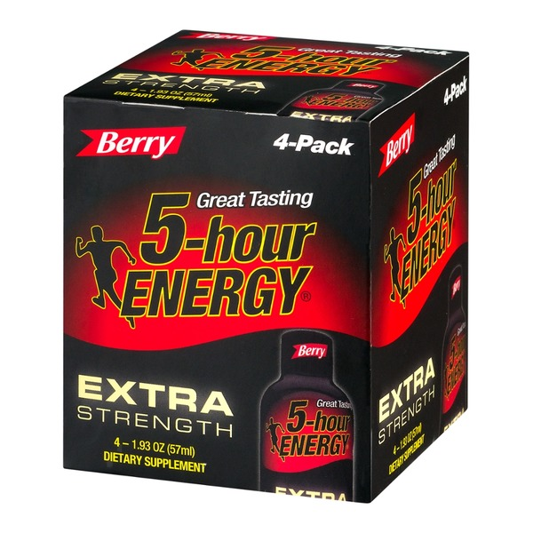 5-Hour Energy Extra Strength Dietary Supplement Berry - 4 CT