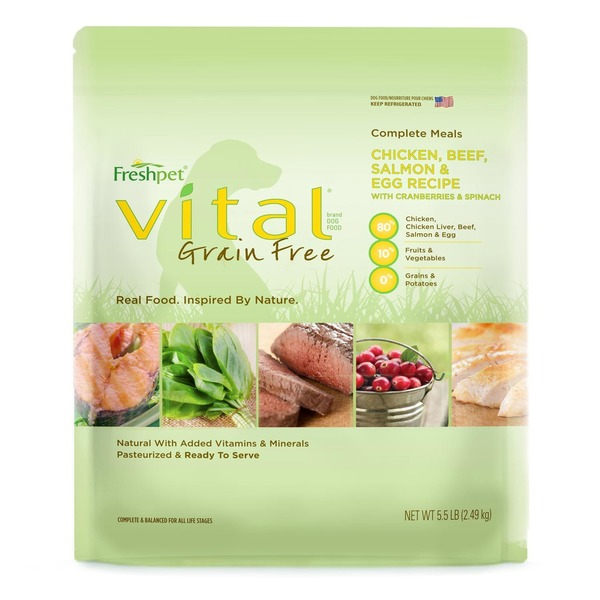 Freshpet Vital Grain Free Complete Meals Chicken, Beef, Salmon & Egg Recipe With Cranberries & Spinach