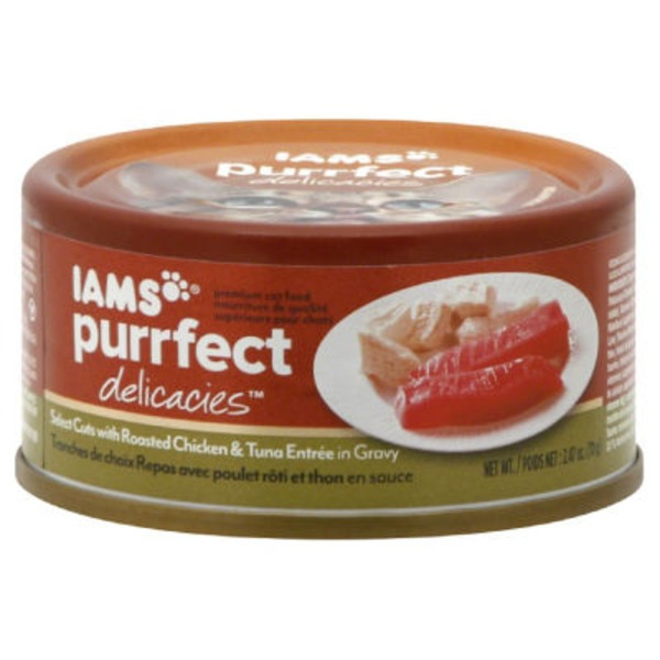 Iams Purrfect Delicacies Select Cuts with Roasted Chicken & Tuna Entree with Gravy Cat Food