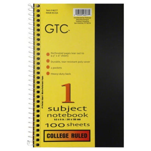GTC 1 Subject College Ruled Notebook