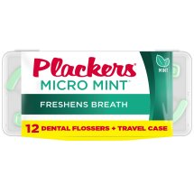 Plackers Micro Mint Mint Dental Floss Picks with Travel Case - 12 Count