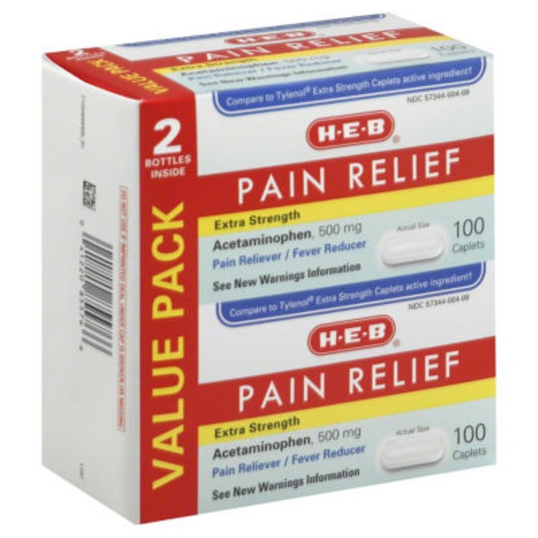 H-E-B Pain Relief Extra Strength Acetaminophen 500 Mg Caplets Value Pack