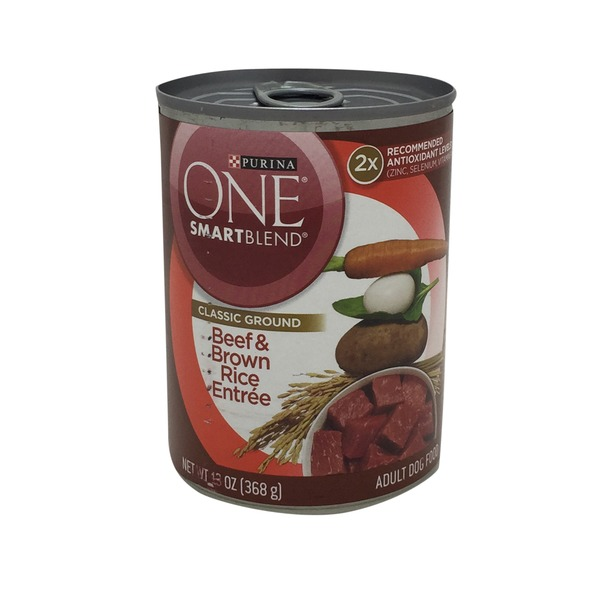 Purina One Smart Blend Classic Ground-Beef & Brown Rice Entree Adult Dog Food