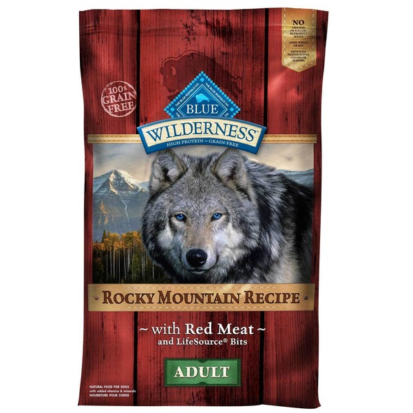 Blue Buffalo 100% Grain Free Wilderness Rocky Mountain Recipe With Red Meat & Lifesource Bits Adult Food for Dogs