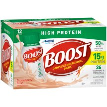 BOOST HIGH PROTEIN Complete Nutritional Drink, Strawberry Bliss, 8 fl oz Bottle, 12 Pack