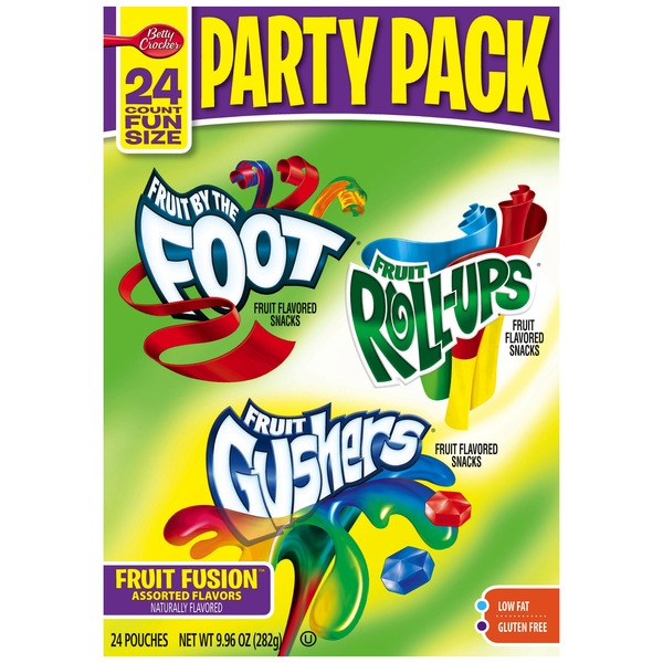 Betty Crocker Fruit by the Foot/Fruit Roll-Ups/Fruit Gushers Party Pack Fruit Flavored Snacks