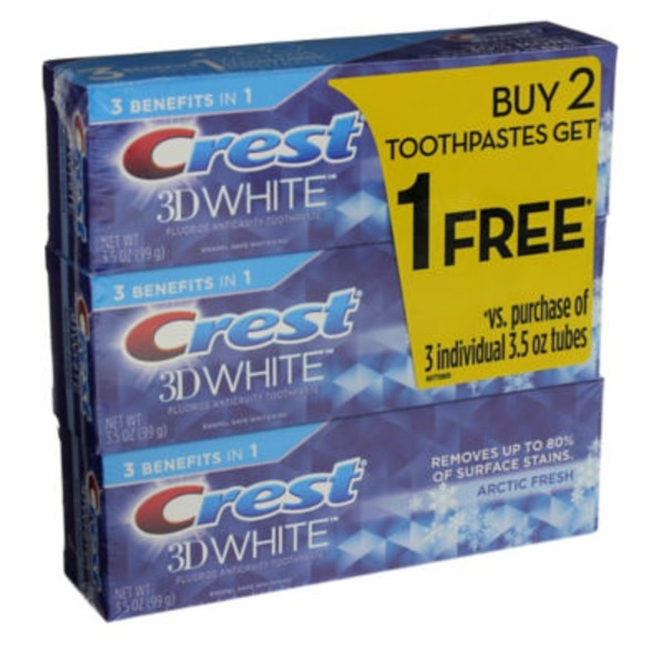 Crest 3D White Crest 3D White Arctic Fresh Icy Cool Mint Flavor Whitening Toothpaste, 3.5 oz, Buy 2 Get 1 Free Dentifrice