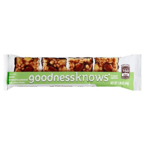 GoodnessKnows Snack Squares, Crafted with Apple Almond & Peanut Dark Chocolate