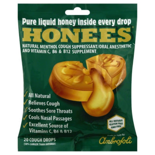 Honees Honey & Menthol Cough Drops Pouch