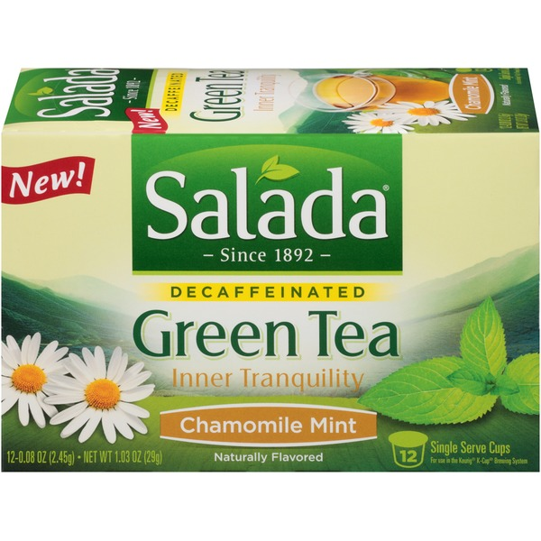 Salada Green Tea Inner Tranquility Chamomile Mint Decaffeinated Single Serve Cups Tea