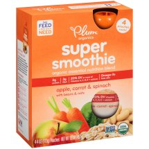 Plum Organics Super Smoothie Apple, Carrot & Spinach Organic Essential Nutrition Blend, 4 oz, 4 ct